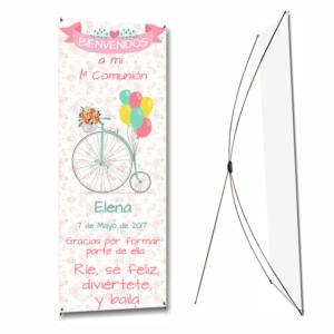 cartel de comunion de niña con bicicleta